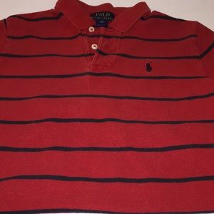 Preworn boys striped collar polo